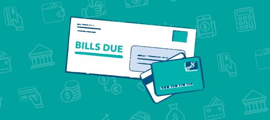 Mail, bills, on green background