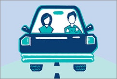 Illustrated couple driving in a car