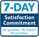 seven day satisfaction commitment badge